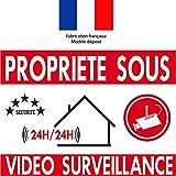 """Autocollant de dissuasion """"Propriété sous vidéo surveillance"""" lot de 10"""