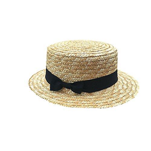 Kentop Damen Strohhut Zylinderhut Kreissäge Sunscreen Sonnenhut Mädchen Sommer Runde Flat Top Brim Strand Hut (Erwachsener)