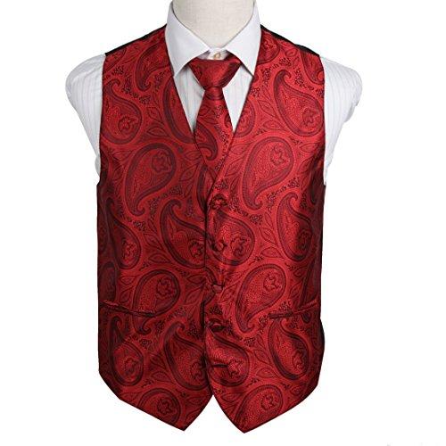 EGD2B.02 Heirat Paisley Microfiber Weihnachten Tuxedo Weste Krawatte Set Von Epoint EGD2B04B-Rot