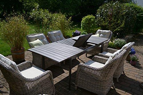 Gartenmöbel Set Como 6 Tisch Ausziehbar Holzdekor Mit 6 Sessel Rattan  Polyrattan Geflecht   7