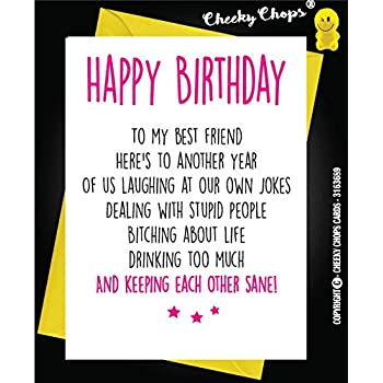 FUNNY BEST FRIEND BIRTHDAY CARD BESTIE HUMOUR FUN SARCASM