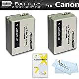 2 Pack Battery Kit For Canon PowerShot SX40 HS SX40HS SX50 HS SX50HS G1 X G1X Powershot G15 Canon PowerShot G16 Digital Camera Includes 2 Extended Replacement (1200Mah) NB-10L Batteries + LCD Screen Protectors + MicroFiber Cleaning Cloth