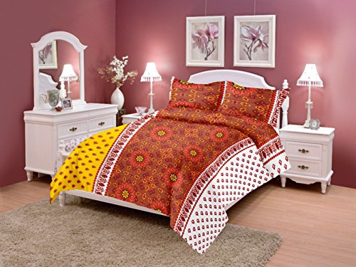 Home Elite Dynamic 124 TC Cotton Double Bedsheet with 2 Pillow Covers...