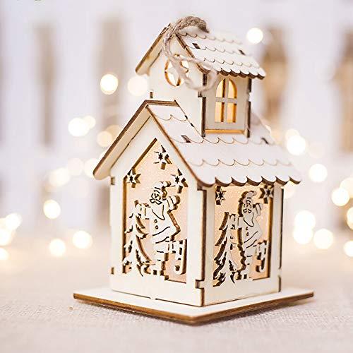 (Decorated Pendant,gaddrt Weihnachten Chalet Licht Weihnachtsschmuck LED-Licht Chalet Hotelbar Weihnachtsbaum Dekoration (D))
