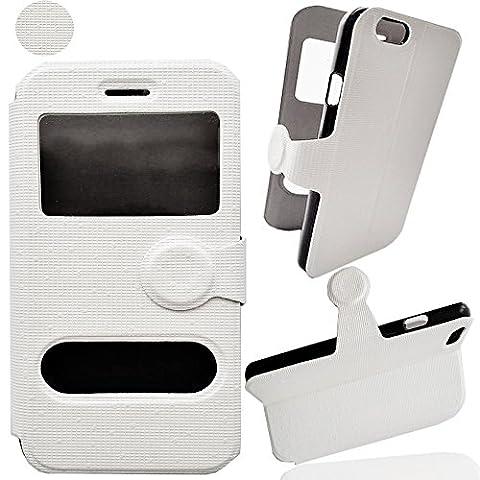 Etui Housse IPHONE 6 Coque Iphone 6G Flip cover FOLIO Portefeuille S View Couleur avec motif BLANC pochette clapet STAND VIDEO Protection blanche style cuir PU à rabat pour Smartphone Apple Iphone 6 4.7 pouces 16 32 64go 4 7 Inch 4.7