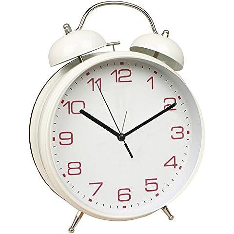 rétro - 8 pouces couleur de la grosse horloge ultra - discrète d'étudiants fort bell,white 2