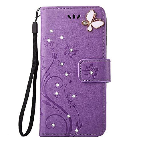 Preisvergleich Produktbild DWE ,  Damen-Geldbörse schwarz violett iphone6 / 6s