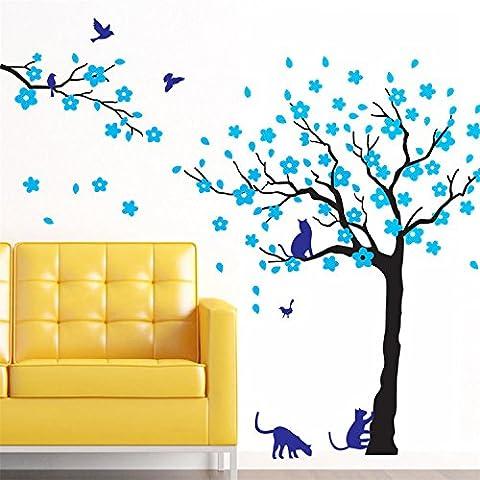 Yanqiao Vögel&Katzen Baum Wandtattoo Wandaufkleber Wand Aufkleber DIY für Wohnzimmer Schlafzimmer Kinderzimmer Entfernbares Vinyl Kunst Haus Dekoration Größe