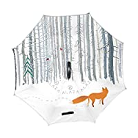 XiangHeFu Double Layer Inverted Reverse Umbrellas Landscape Winter Forest Snow Fox Folding Windproof UV Protection Big Straight for Car with C-Shaped Handle