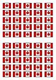 50 Canadian Flag, 50 Kanada Flagge, Essbare PREMIUM Dicke GEZUCKERTE Vanille, Reispapier Mini Cupcake Toppers, Cake Pops, Cookies für Wafer