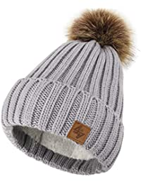 4sold Mens Womens Beanie Warm Winter Cable Knitted Bobble Hat Plain Ski Pom  Wooly Cap Full a6c54a0b17da