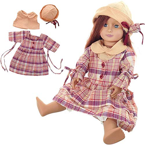 Zexa Doll Costume Set Plaid Dress Hat Top British Lady Style Cute Clothing Suit for 18 Inch Doll
