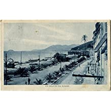 1928 Loano - Un Saluto da Loano, vista lungo spiaggia - FP B/N VG ANIM Cartolina Postale