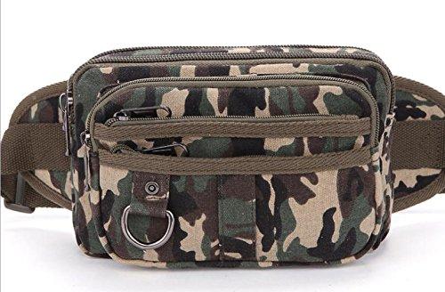 &ZHOU Segeltuchtasche, Canvas-Taschen, lässige Flut großer Kapazität Taschen, tragbaren Paket Brieftasche Telefon Paket Männer Handtasche nähen green camouflage