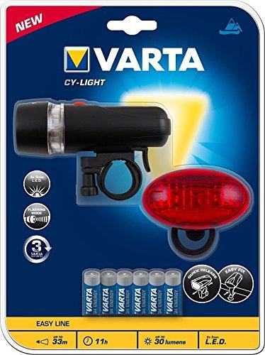 Varta 15803101421 Set per Bicicletta, Faro LED Luce Anteriore e Posteriore, Batterie Incluse, Alta Sicurezza sulla Strada, 30 Lumen, Fino a 33 m di visibilità