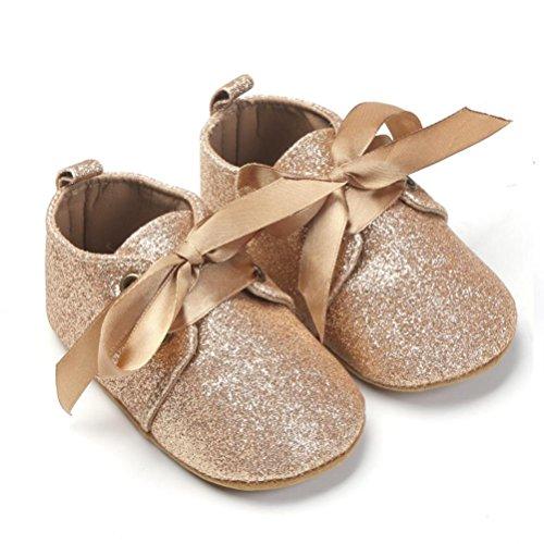 Clode® Neugeborene Baby Jungen Sequins Schuhe Leopard oben Beleg Spitze Querbinder Turnschuh Glod