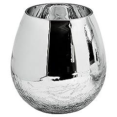 Idea Regalo - Edzard Vaso Esther in Vetro Rivestito in Argento, Effetto Rotto, Altezza 17 cm