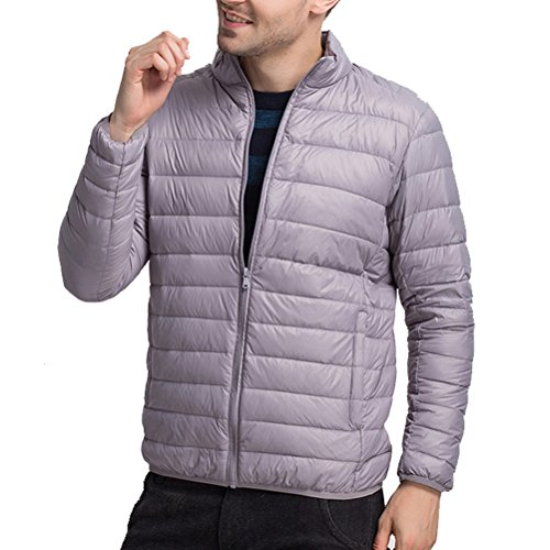 Laixing Manteaux Mens Boys Zipped Walking Winter Lightweight Down Jacket Warm Outwear Stand Collar Dark Gray