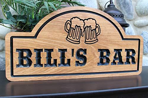 Em2342oe - targhetta personalizzata per bar, pub, bar, decorativa, in legno, per la festa del papà