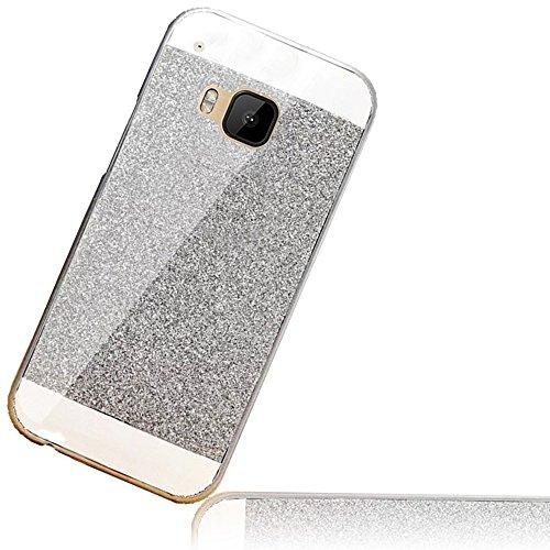 Sunroyal HTC One M9 HTC S9 Handy Hülle Schutz Bling Hart Case Harte Glitzer Diamant Luxus Gel Crystal Kristall Zurück Hard Back Cover Rückseite, Silver Silber