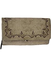 f15c179ac7e53 Domelo Damen Geldbeutel Geldbörse Brieftasche Portmonnaie Ledergeldbeutel Trachten  Style aus echtem…