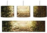 Schöne alte Steintreppe inkl. Lampenfassung E27, Lampe mit Motivdruck, tolle Deckenlampe, Hängelampe, Pendelleuchte - Durchmesser 30cm - Dekoration mit Licht ideal für Wohnzimmer, Kinderzimmer, Schlafzimmer