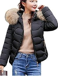 6183ee3a102 Magike Doudoune avec la Fourrure Femme Manteau Fille Court Hiver Chaud  Veston Vest Noir Blanc