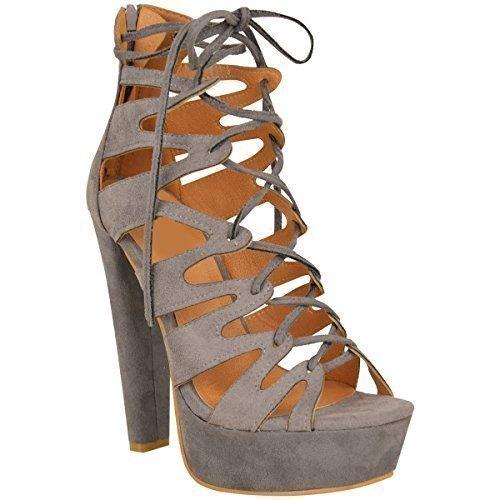 New Womens Damen High Heels Plattform Gladiator Sandalen Schnür Stiefel Schuh Größe - Grau Kunstwildleder, 36