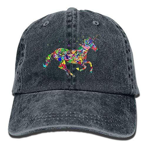 Hoswee Unisex Kappe/Baseballkappe, Colorful Unicorns On The Run Denim Hat Adjustable Women\'s Funny Baseball Cap