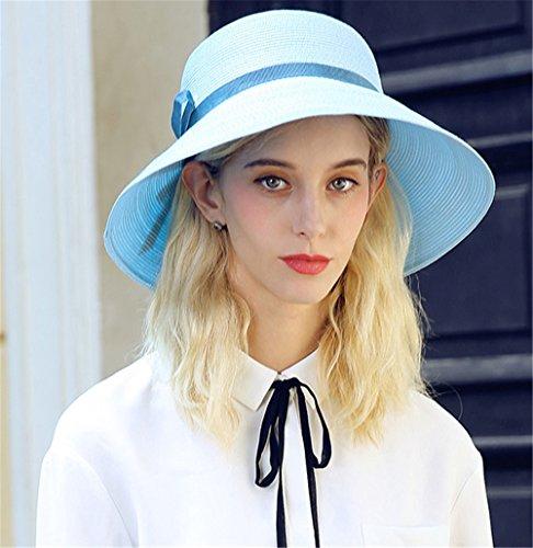 Capeline Chapeau Cloche Femmes Filles Dames Plage Été Paille Chapeau de soleil Bleu