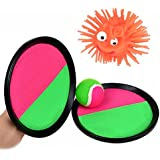 Velcro Ball And Catch Game - Toss And Catch Sports Game Set For Kids With Ball & Grip Mitts (Gifts: Puffer Ball Yo-Yos)