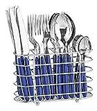 24-teiliges Besteckset JENNIFER aus Edelstahl 18/0, mit blauen Kunststoffgriffen, inkl. Besteckkorb