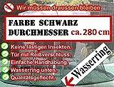 Fliegennetz Moskitonetz SCHWARZ 280cm Sonnenschirm Marktschirm Angler Ampelschirm
