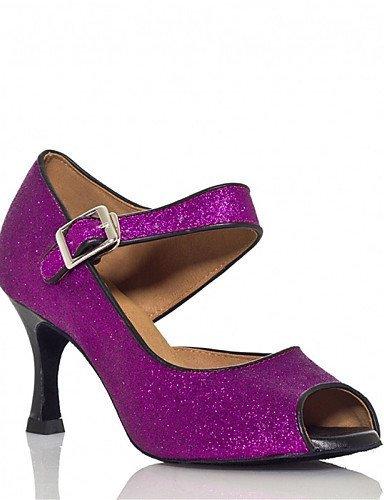 ShangYi Chaussures de danse(Noir / Bleu / Violet) -Personnalisables-Talon Personnalisé-Paillette Brillante / Paillette-Latine / Jazz / Salsa / Black