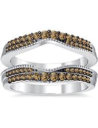 Silvernshine 14K White Gold PL Citrine Simulated Diamonds Double Row Wedding Ring Guard Enhancer