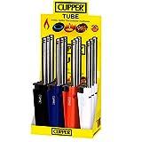 Briquets longs Clipper - Au gaz, rechargeablesParfaits pour les bougies, cuisinières, feux de camp, poêles à bois. Avec stylo antibactérien The Chemical Hut. X12