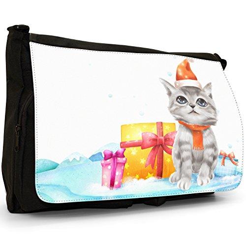 Fancy A Bag Borsa Messenger nero Silver Star on Snowy Christmas Tree Adorable Grey & White Blue Eyed Christmas Kitten