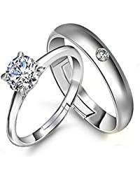 Peora Silver Plated Metal Solitaire Couple Ring for Men and Women Love Gift for Valentine