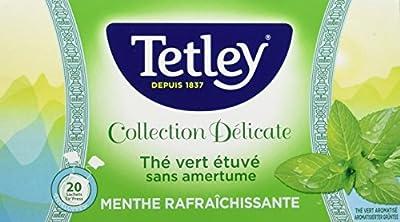 Tetley Thé Vert Etuve sans Amertume Menthe Rafraichissante Boîte de 20 Sachets Tir Press Sous Protect'Arôme Collection Délicate