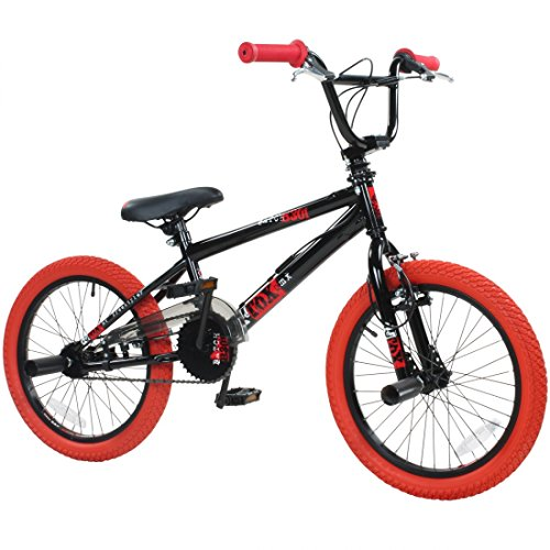 deTOX 18 Zoll BMX Freestyle Kinder BMX Anfänger ab 120 cm, 6 J, Farbe:schwarz/rot