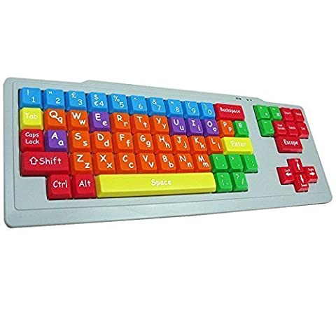 Playlearn Special Needs Children's Computer USB Keyboard - Upper Case & Lower Case - Color Coded