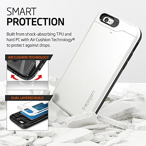 Spigen Coque iPhone 6 [Porte-Cartes] Coque portefeuille pour iPhone 6 [Slim Armor CS] [Shimmery White] Coque double couche en TPU et Polycarbonate avec porte-cartes pour iPhone 6 (2014) - SACS Shimmer Shimmery White