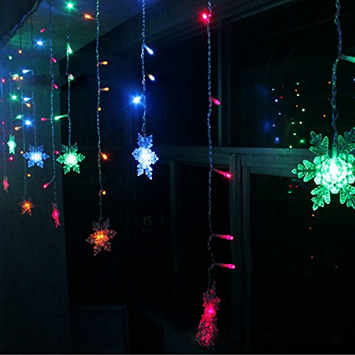 K-Bright 3.5M / 138in 96 LED Snowflake -förmige Lichtervorhang Weihnachtlicher Lichtervorhang Lichterkette Weihnachtsdekoration Dekoleuchte Dekolicht EU Stecker IP44 Wasserdicht