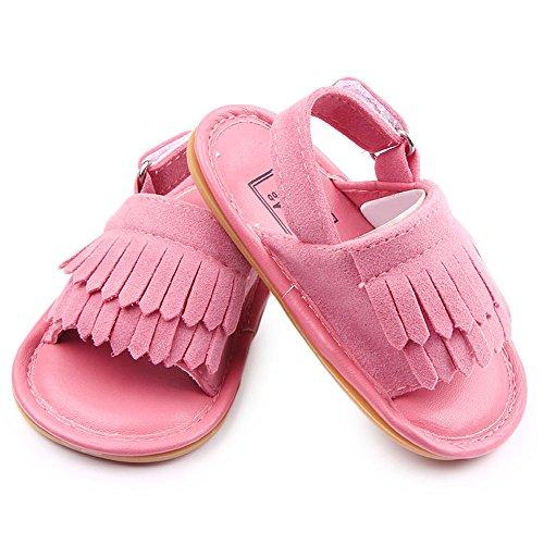 Gosear Sommer Sehr schön Quaste Stil Baby Mädchen Junge Kleinkinder Kinder Sandalen Schuhe mit Weiche Anti-Rutsch Kautschuk Sohle Matt Obere Braun Größe 12 Pink