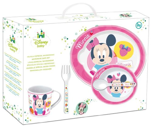 Image of Stor 30579Disney Minnie Baby Feeding Set of 5Pieces with Plate, Bowl, Cup, Fork and Spoon, Pink