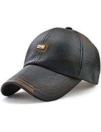 b32072f38d5d9a King Star Men Winter Warm Faux Leather Adjustable Baseball Cap Black