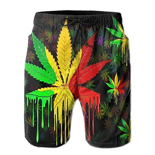 Jhonangel Mens Casual Beachwear Farbe Weed Painting Board Shorts Startseite Shorts Badehose mit Teleskopband M