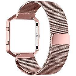Fitbit Blaze Band (6,7–8,1pulgadas), PUGO TOP Milanese Loop Acero Correa de acero para Fitbit Blaze Smart Fitness Watch, Fitbit Blaze Banda Reemplazo con único imán de bloqueo