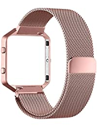 Fitbit Blaze Accessories Band, PUGO TOP Metal Frame Housing with Magnet Lock Milanese Loop Stainless Steel Bracelet Strap Band for Fitbit Blaze Smart Fitness Watch -oro rosa