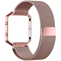 For Fitbit Blaze Replacement Band, PUGO TOP Milanese Loop Stailess Steel Bracelet Strap for Fitbit Blaze Smart Fitness Watch, with Unique Magnet Lock